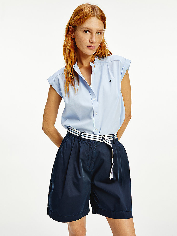 camicia oxford relaxed fit blu da women tommy hilfiger