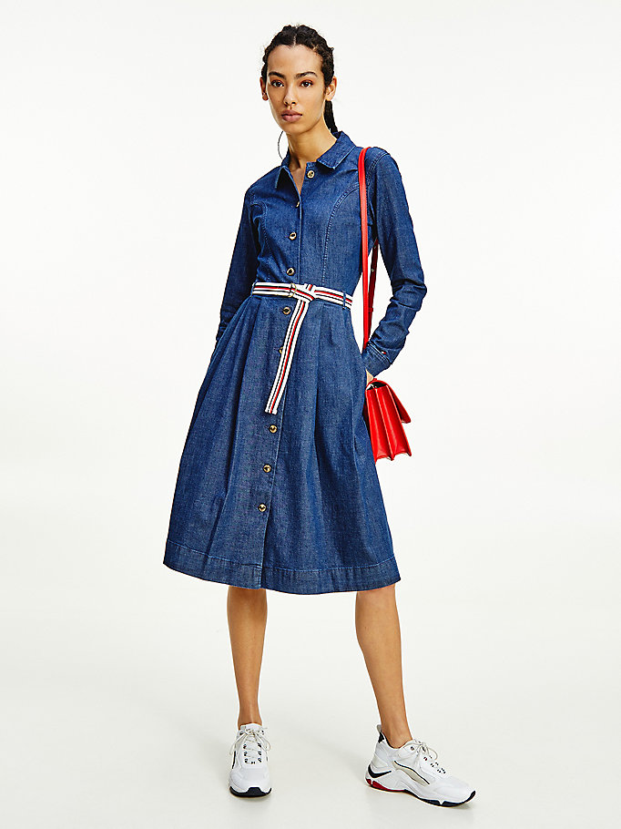 denim signature belt denim midi dress for women tommy hilfiger