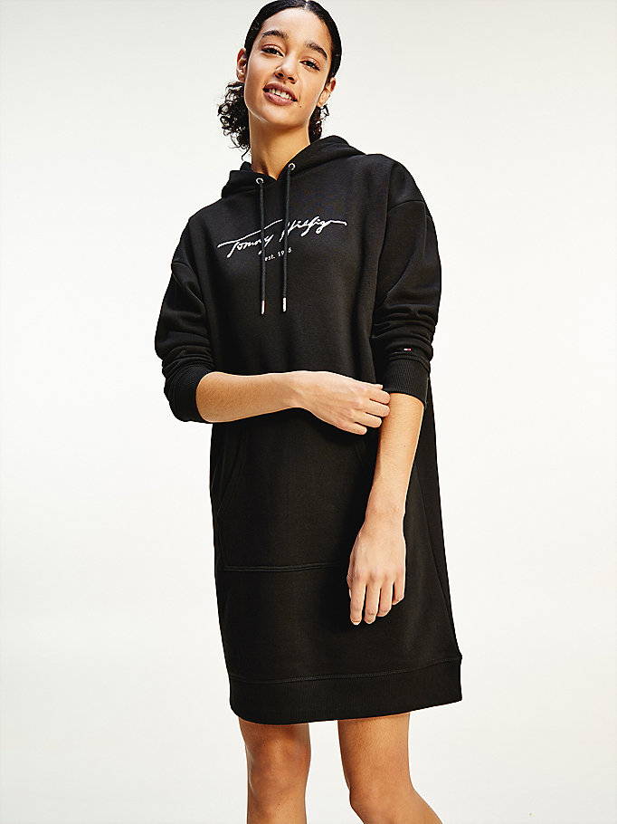 black script logo hoody dress for women tommy hilfiger