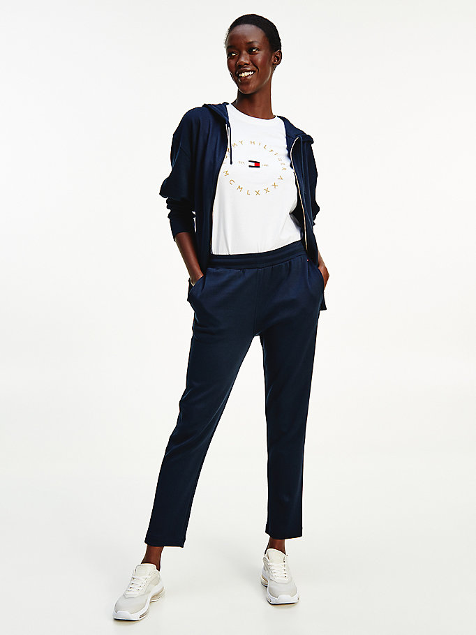 blue pique tapered trousers for women tommy hilfiger