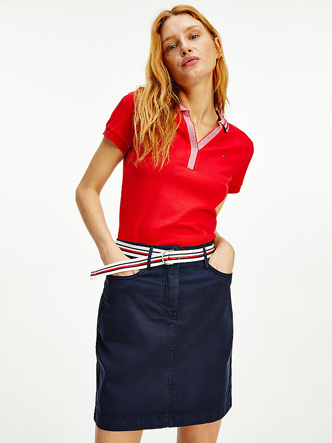 red signature collar slim fit polo for women tommy hilfiger