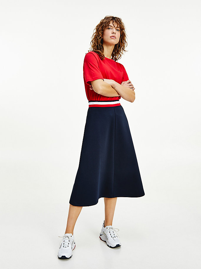 blue signature relaxed fit midi skirt for women tommy hilfiger