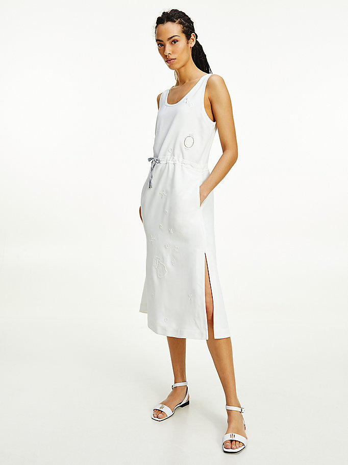 robe midi tommy icons à broderie anglaise blanc pour femmes tommy hilfiger