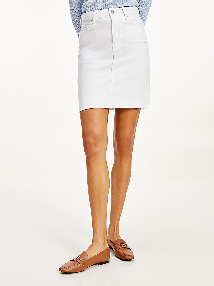 denim rome high rise slim mini skirt for women tommy hilfiger