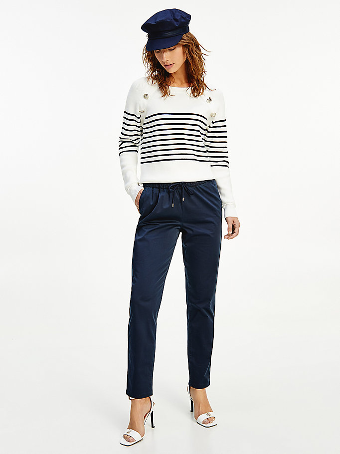 blue modern pull-on tapered trousers for women tommy hilfiger