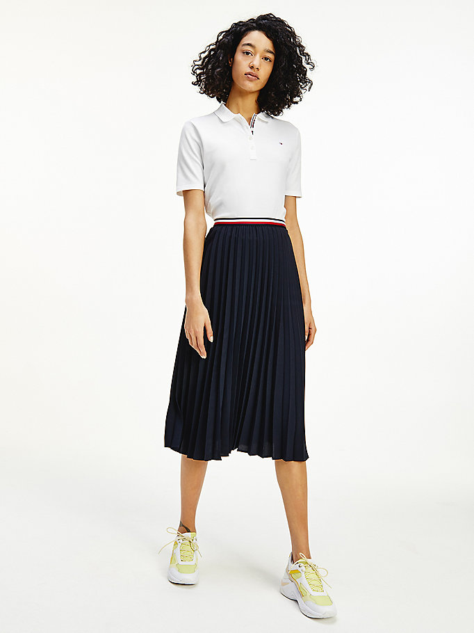 blue crepe signature waistband pleated midi skirt for women tommy hilfiger