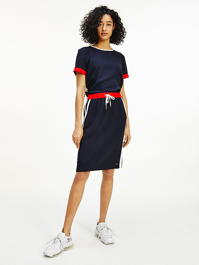 blue side stripe drawstring knee length skirt for women tommy hilfiger