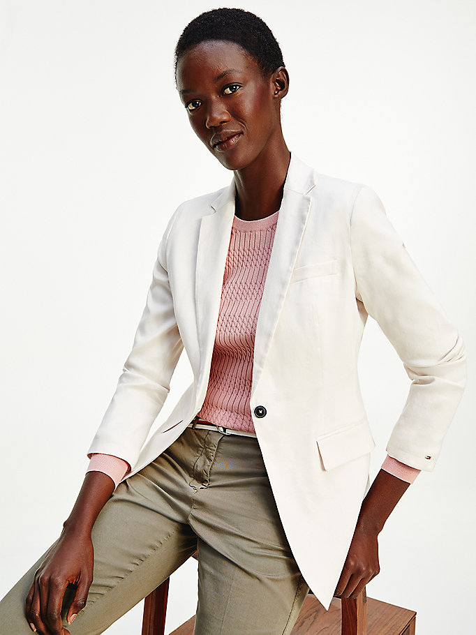 beige stretch linen blazer for women tommy hilfiger