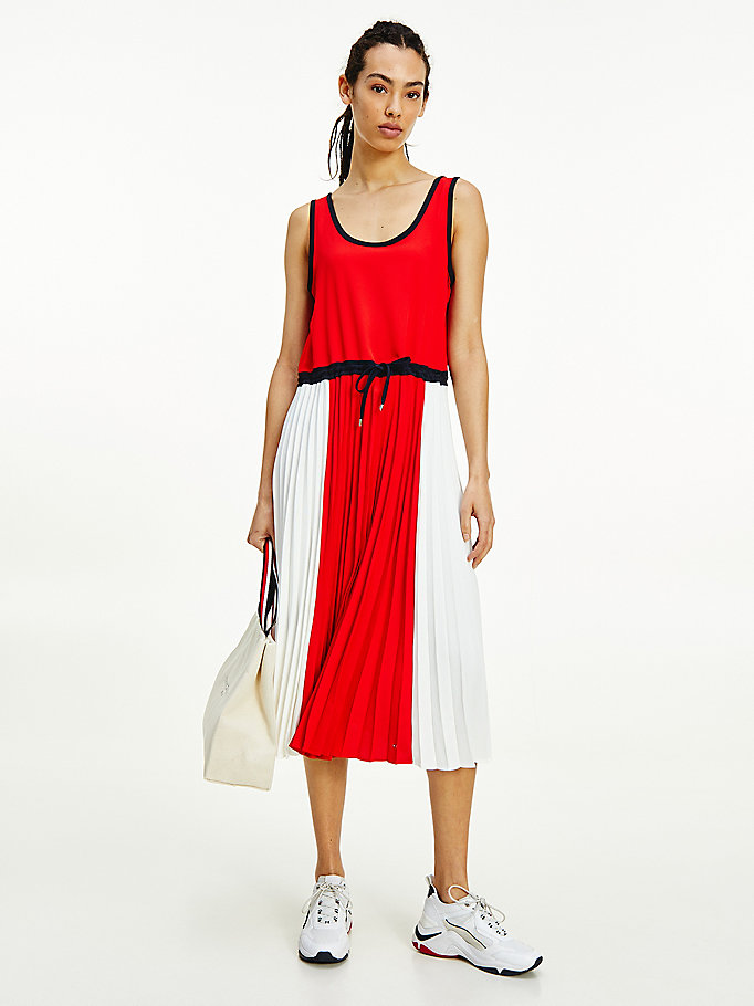 red sleeveless pleated midi dress for women tommy hilfiger