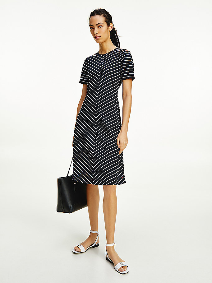 blue pinstripe fit and flare dress for women tommy hilfiger
