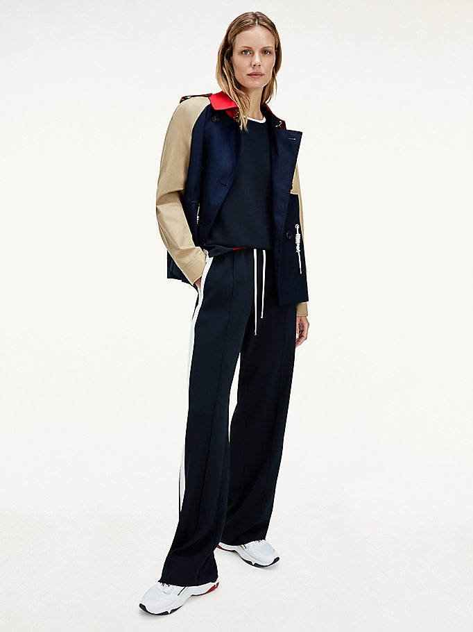 blue crepe colour-blocked trousers for women tommy hilfiger