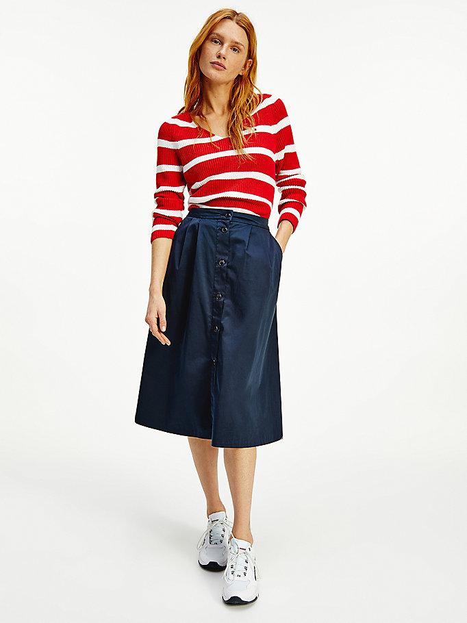 blue knee length chino skirt for women tommy hilfiger