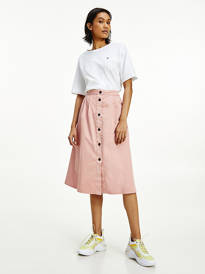 pink knee length chino skirt for women tommy hilfiger