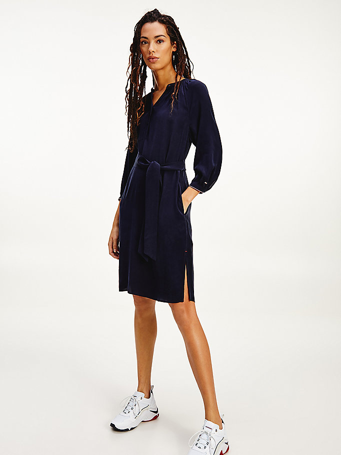 blue viscose blend tie waist shift dress for women tommy hilfiger