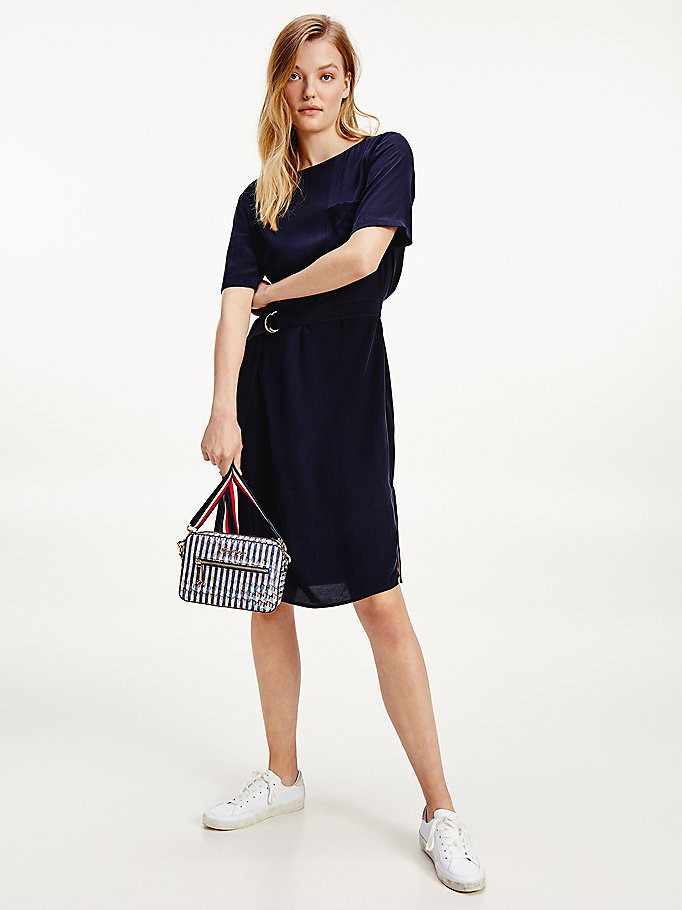 blue belted short sleeve dress for women tommy hilfiger