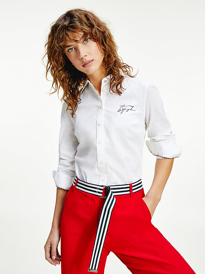 white signature logo organic cotton shirt for women tommy hilfiger