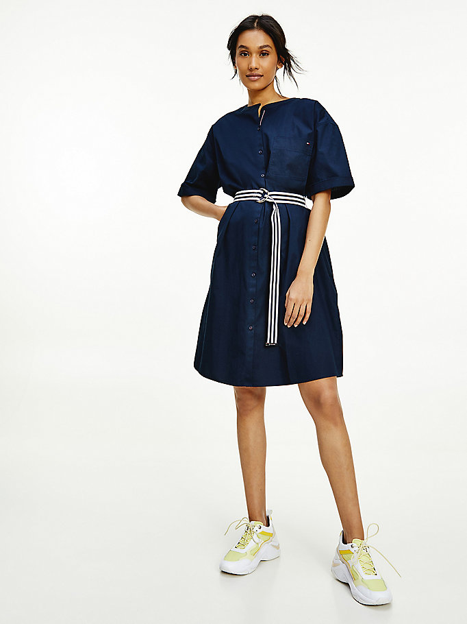 blue belted cotton shirt dress for women tommy hilfiger
