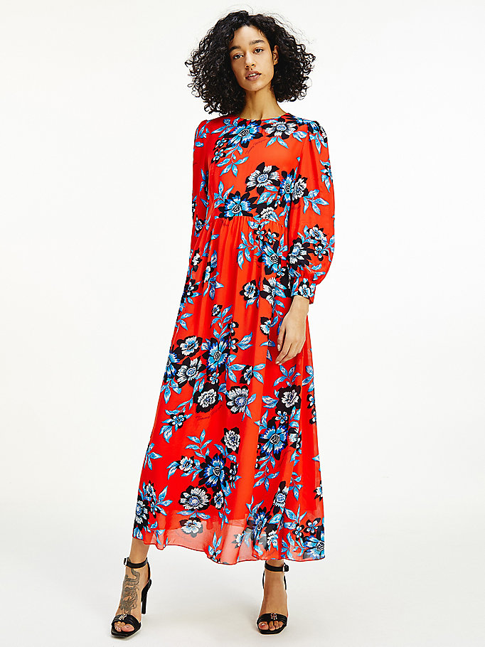 red floral relaxed fit viscose maxi dress for women tommy hilfiger