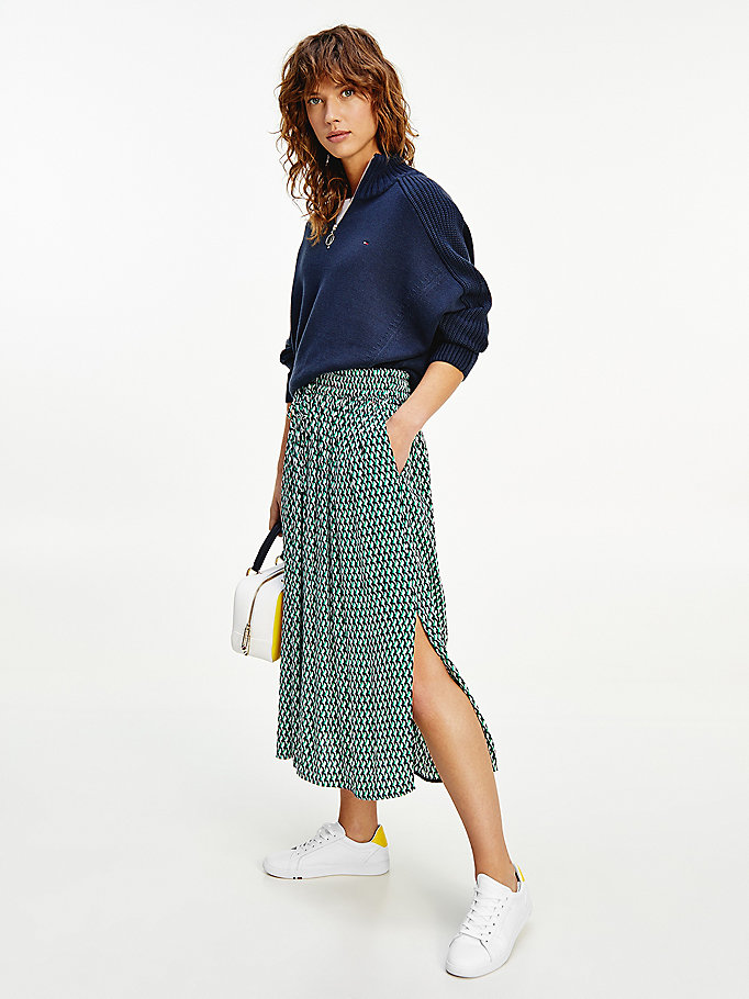 green viscose crepe relaxed fit midi skirt for women tommy hilfiger