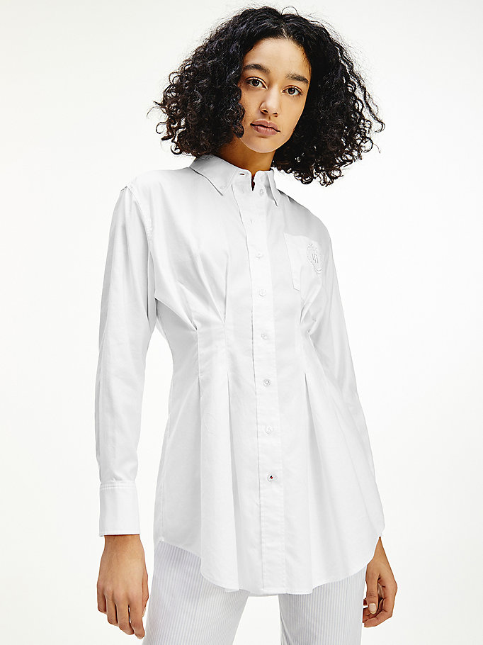 white tommy icons oversized relaxed fit shirt for women tommy hilfiger