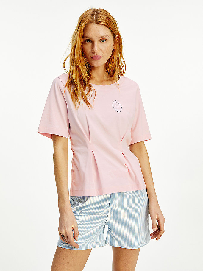pink tommy icons half sleeve t-shirt for women tommy hilfiger