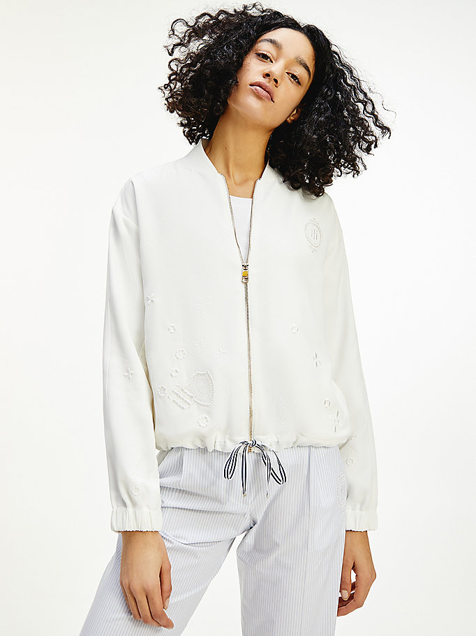white tommy icons relaxed bomber jacket for women tommy hilfiger