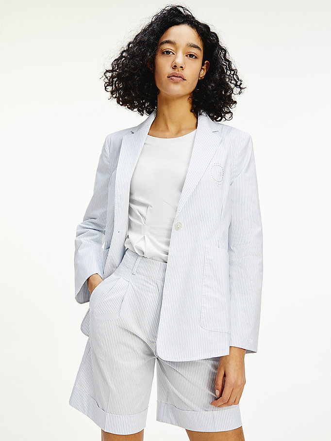blazer tommy icons relaxed fit a righe blu da donna tommy hilfiger