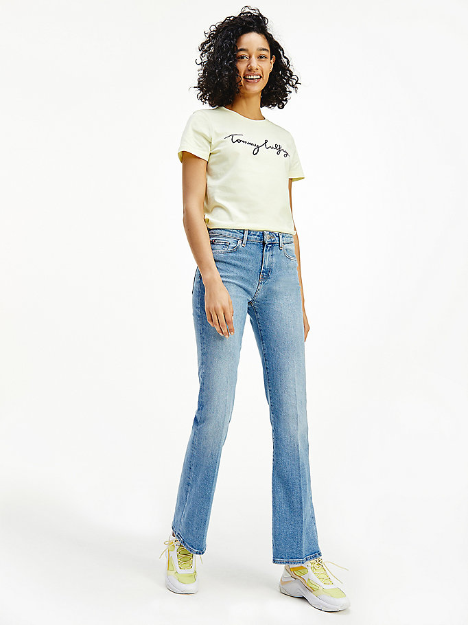 denim medium rise bootcut faded jeans for women tommy hilfiger
