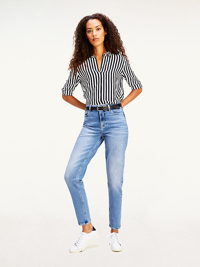 denim gramercy mom high rise tapered jeans voor dames - tommy hilfiger