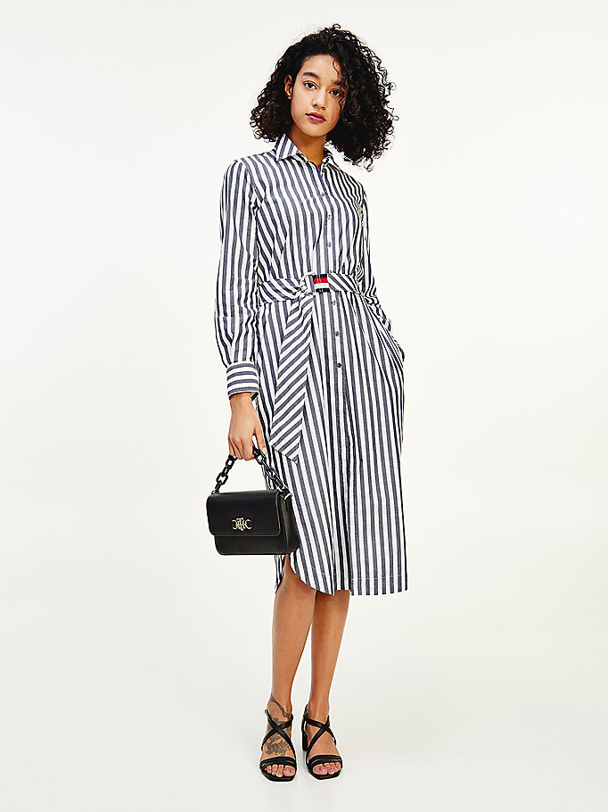 blue stripe belt midi shirt dress for women tommy hilfiger