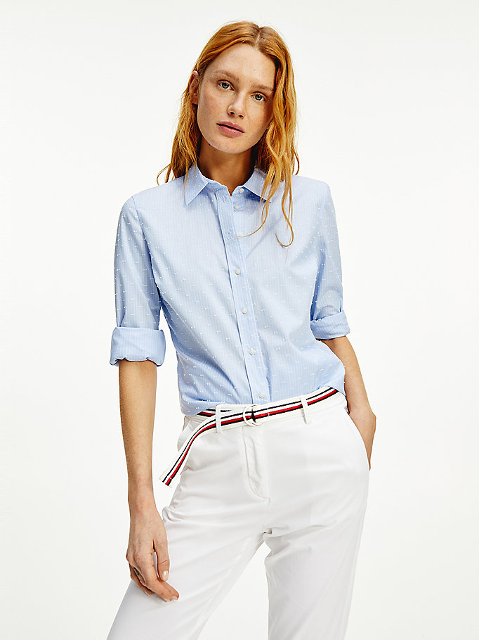 blue stripe dobby spot pure cotton shirt for women tommy hilfiger