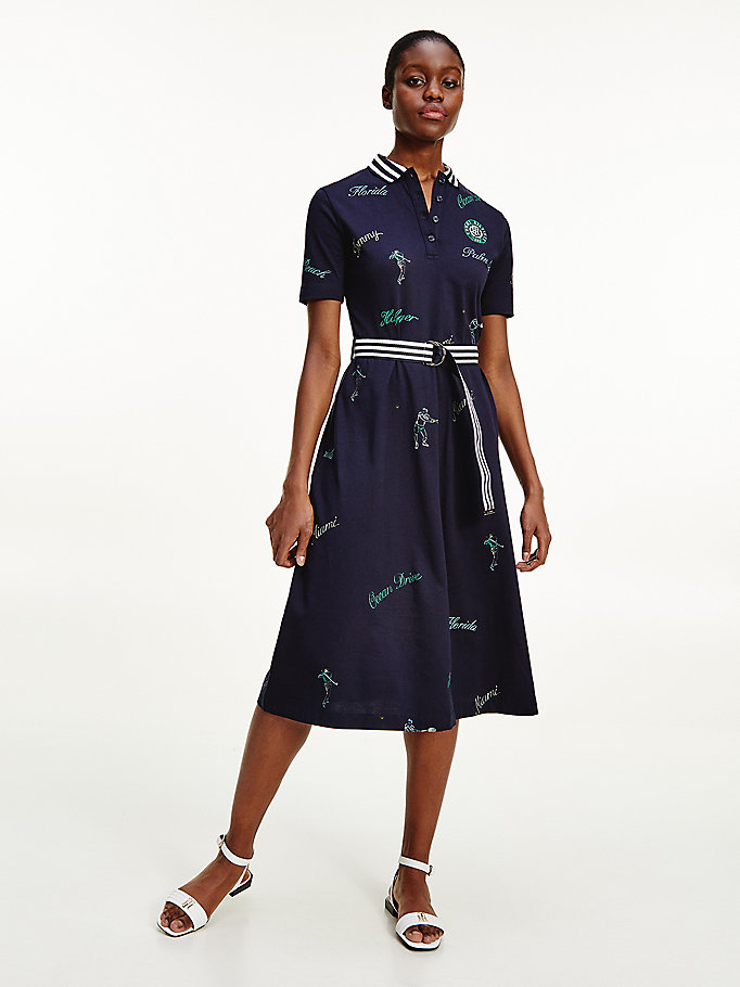 blue clubhouse print midi dress for women tommy hilfiger