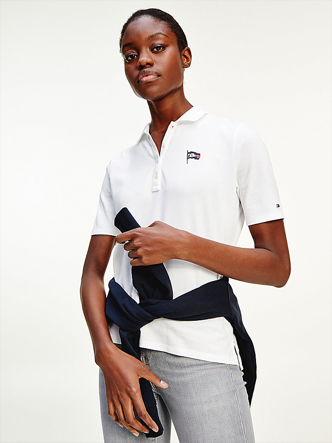 white flag regular fit polo for women tommy hilfiger