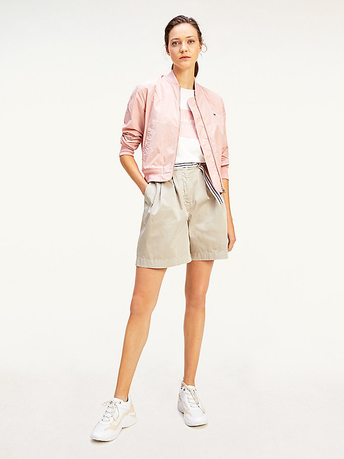 beige modern cotton sateen belted chino shorts for women tommy hilfiger