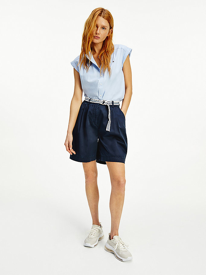 blue modern cotton sateen belted chino shorts for women tommy hilfiger