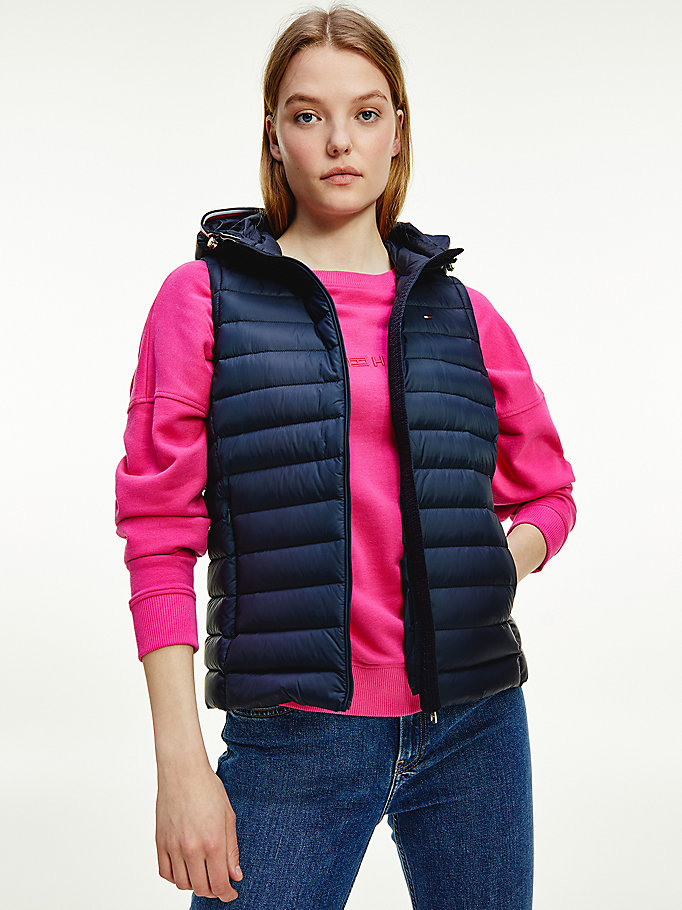 blue essential lightweight down vest for women tommy hilfiger