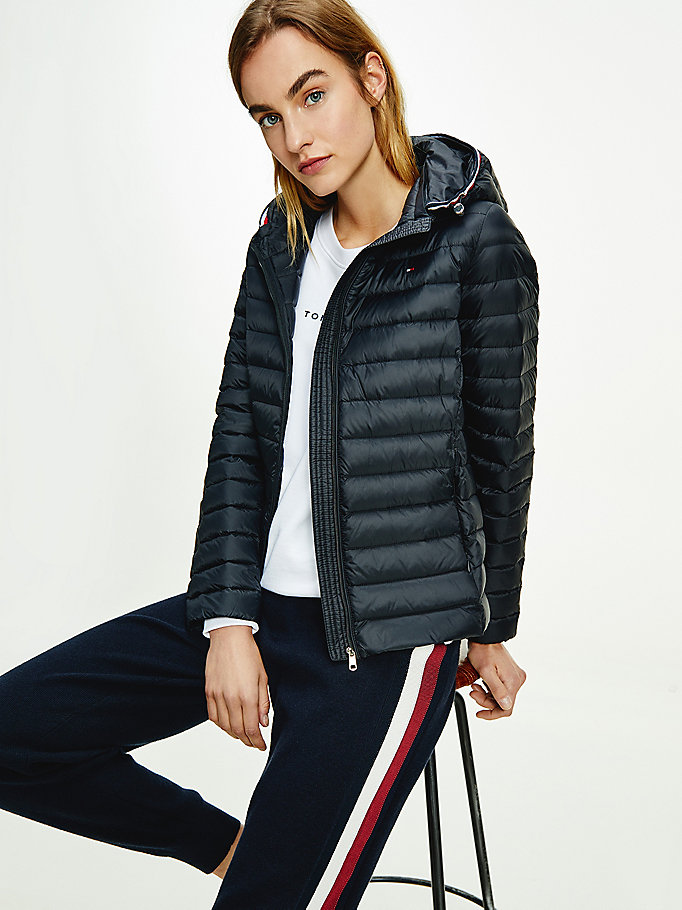 black essential down-filled quilted hooded jacket for women tommy hilfiger
