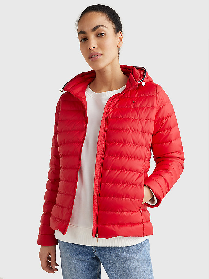red essential down-filled quilted hooded jacket for women tommy hilfiger