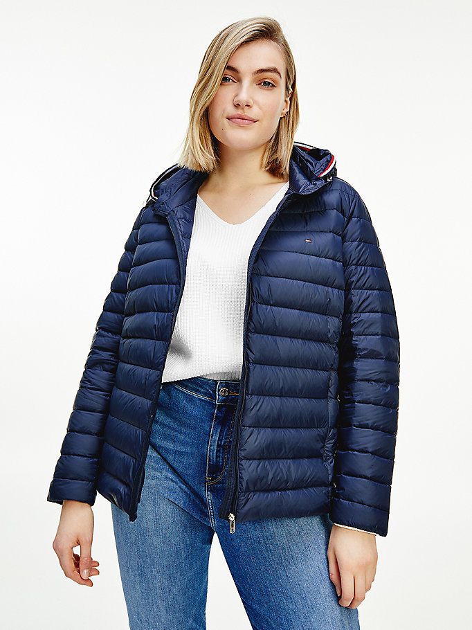 blue curve essential down-filled quilted hooded jacket for women tommy hilfiger