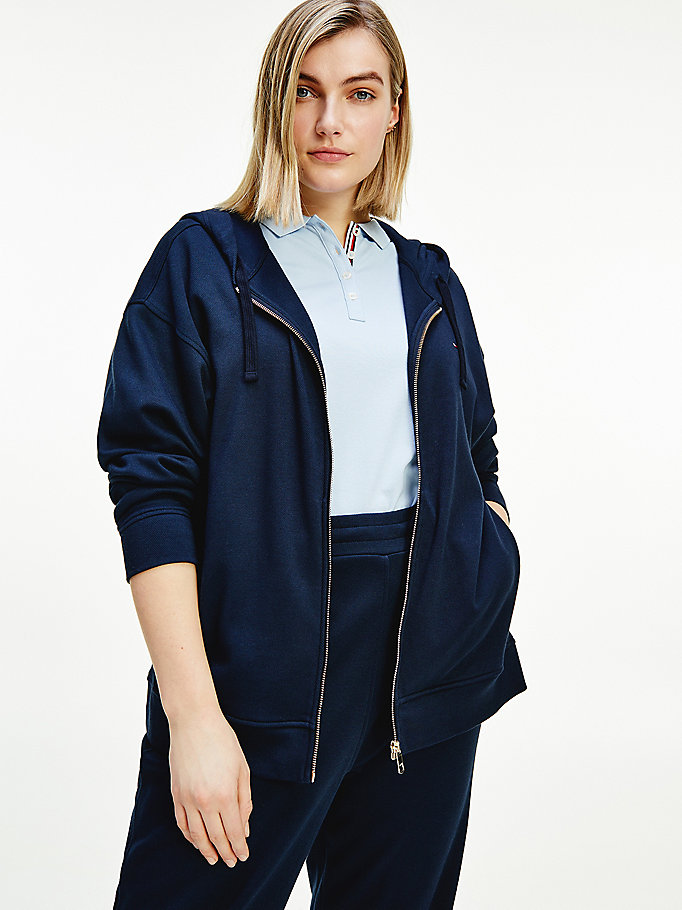 blue curve zip-thru relaxed fit hoody for women tommy hilfiger