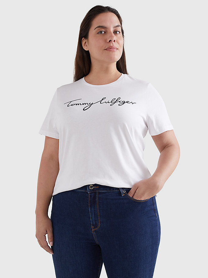 white curve curve signature graphic organic cotton t-shirt for women tommy hilfiger