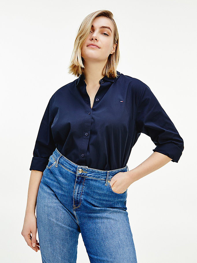 blue curve signature detailing girlfriend fit shirt for women tommy hilfiger