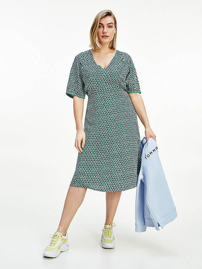 green curve geometric print knee length dress for women tommy hilfiger