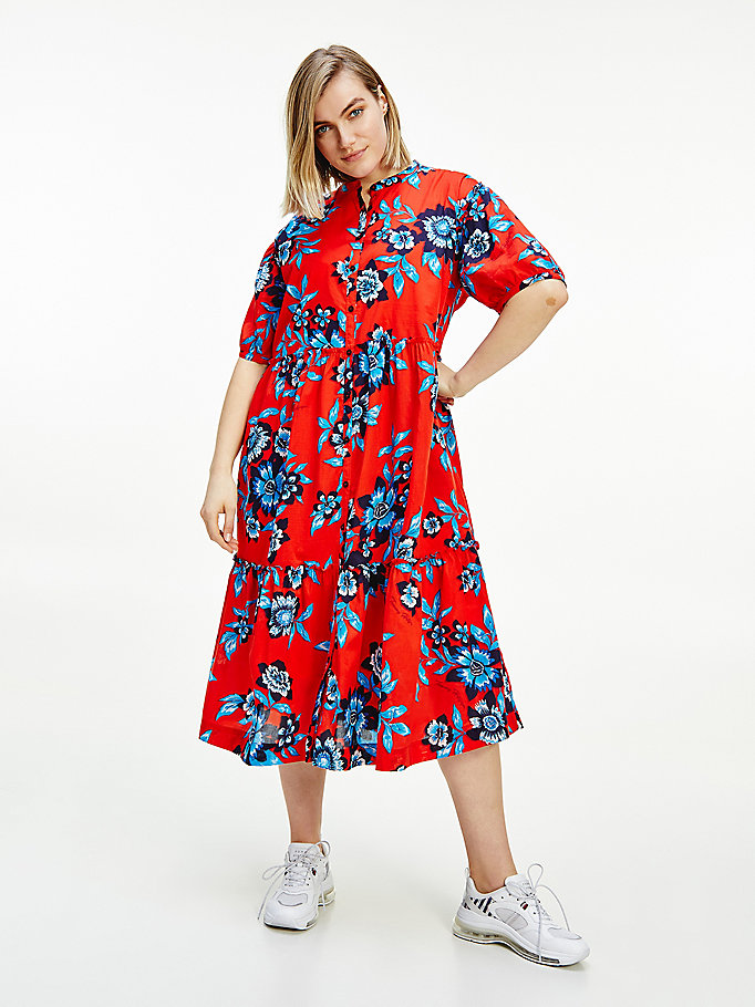 red curve floral print relaxed fit maxi dress for women tommy hilfiger