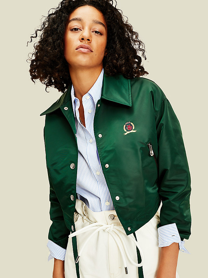 green cropped coach jacket for women tommy hilfiger