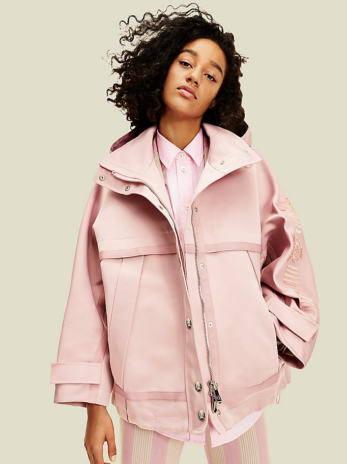 pink crest sailing jacket for women tommy hilfiger