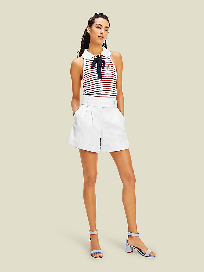 white leather crest shorts for women tommy hilfiger