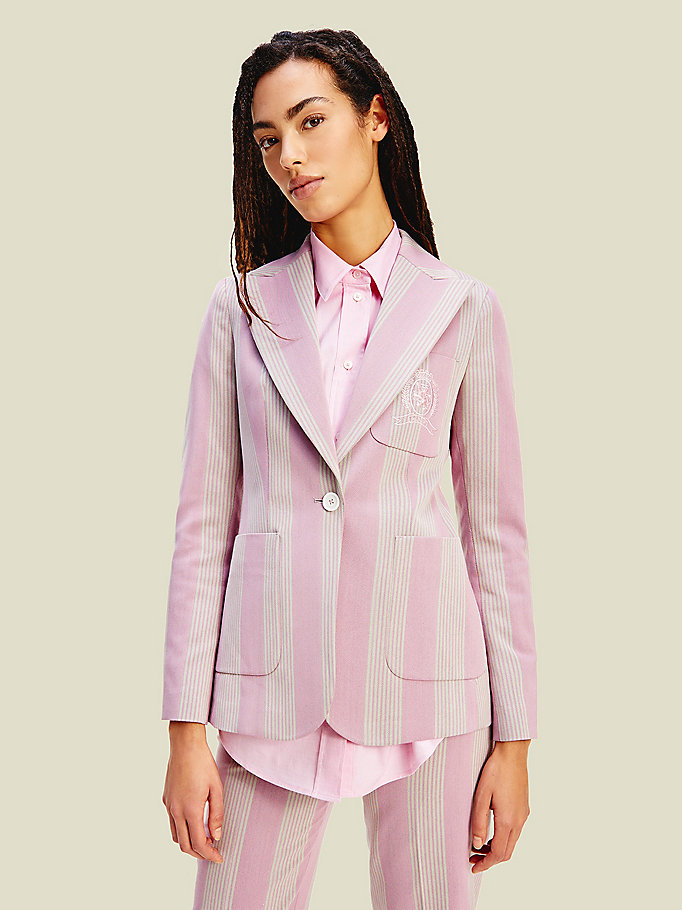 pink crest striped blazer for women tommy hilfiger
