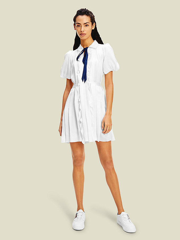 white silk ruffle tie neck dress for women tommy hilfiger