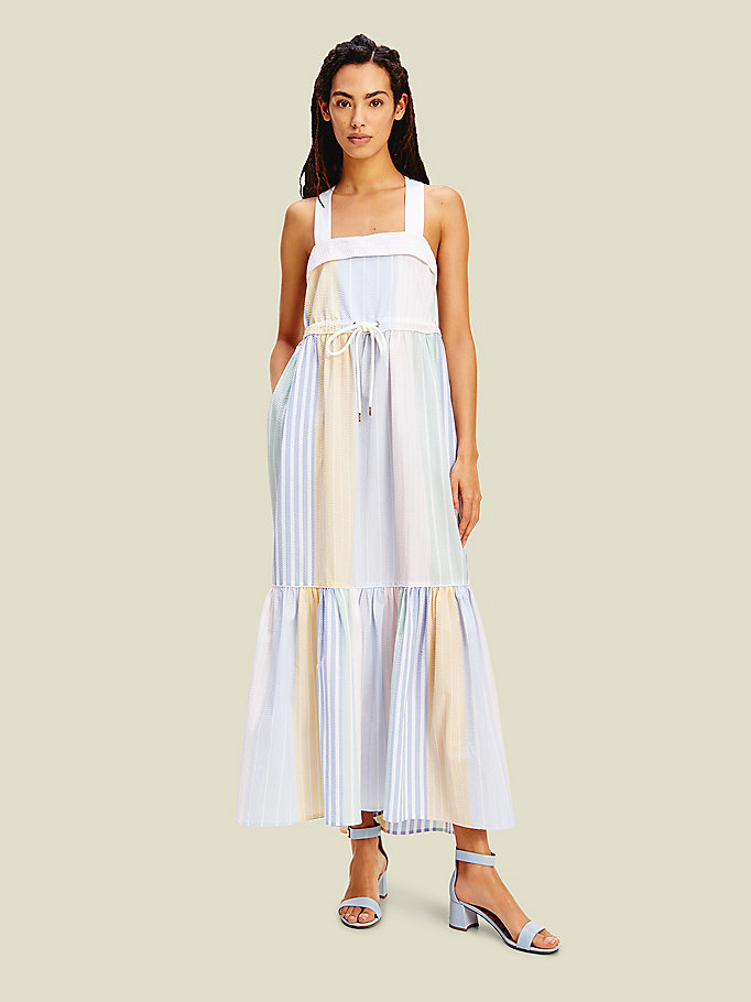yellow pure cotton seersucker stripe maxi dress for women tommy hilfiger
